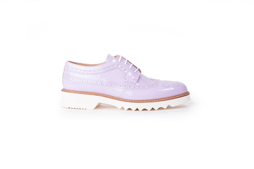Women's Patent Light Grey & Tan Brogue Wingtip.  348 (2017)