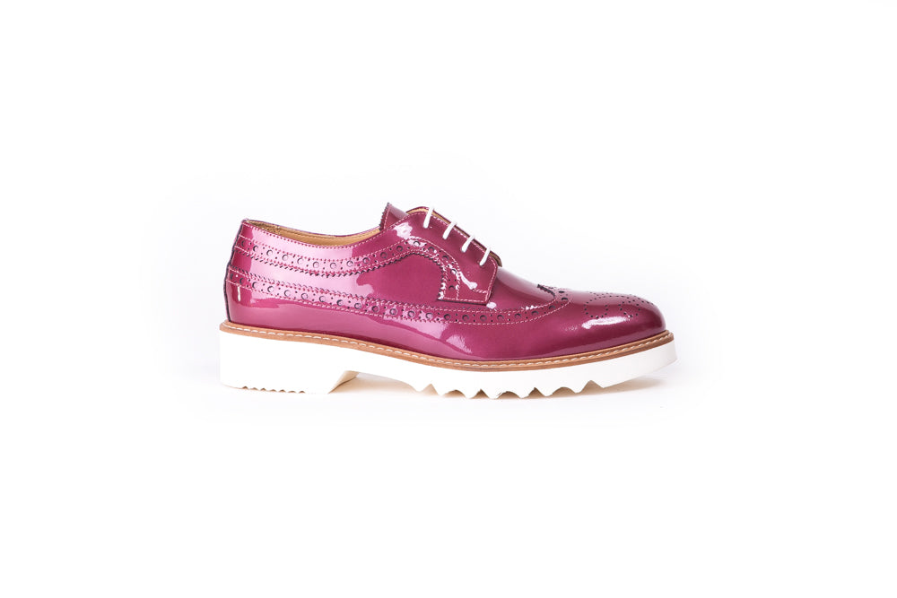 Women's Patent Burgandy & Tan Brogue Wingtip. EX-349 (2017)