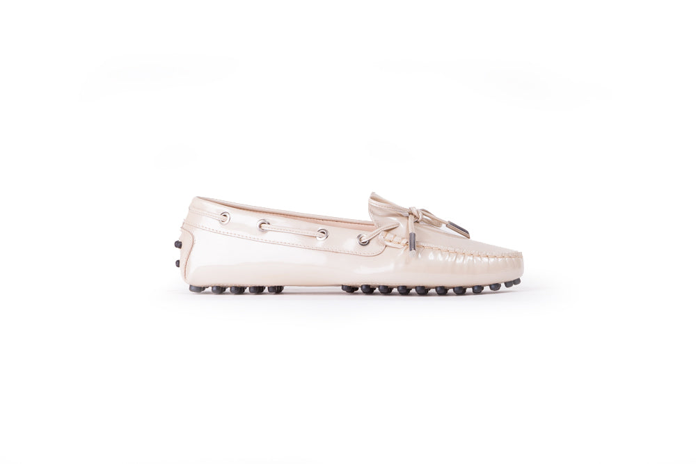Women's White Patent Driver Moccasin Ex-321