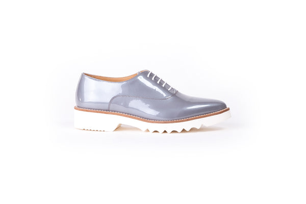 Women's Pastel Grey Patent Lace Up EX-318 (2017)