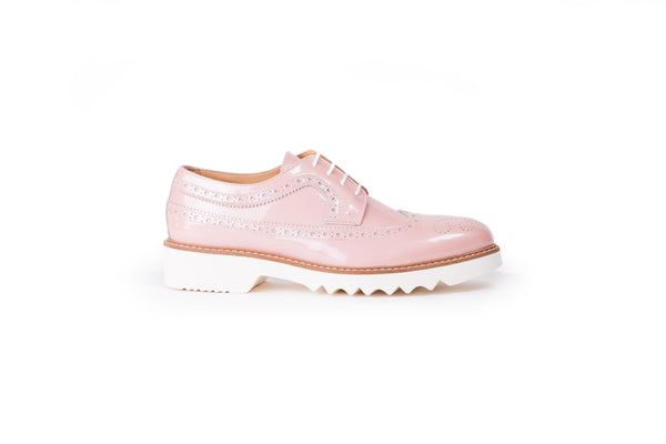 Women's Patent Light Pink  & Tan Brogue Wingtip EX 352 (2017)