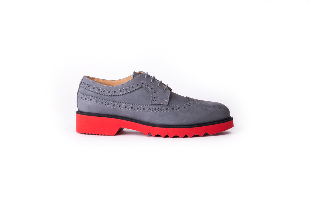 Women's Grey & Black with Red Sole  Brogue Wingtip-EX-335 (2017)