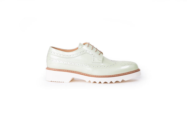 Women's Patent Pista Green & Tan Brogue Wingtip.EX- 337 (2017)