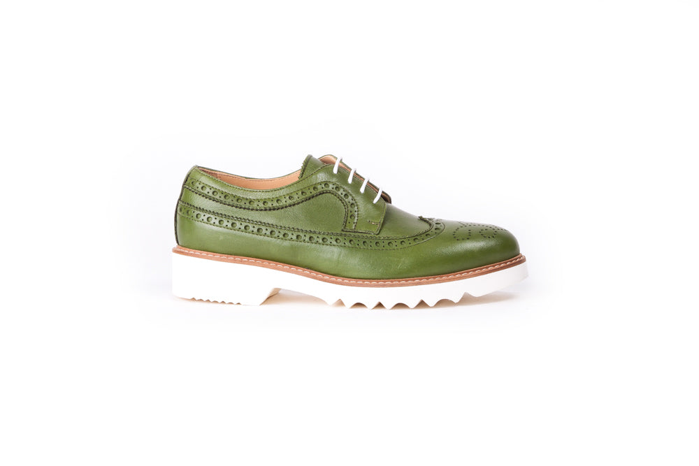 Women's Green & Tan Brogue Wingtip Ex-340 (2017)