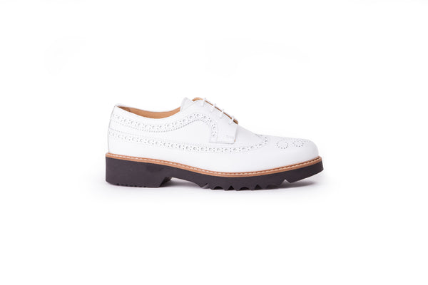Women's White & Tan Brogue Wingtip EX-341 (2017)