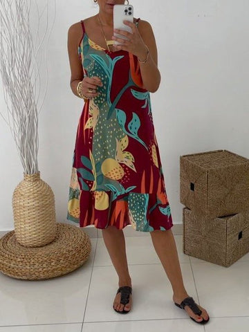 As Picture Sleeveless Vintage Abstract Dresses
