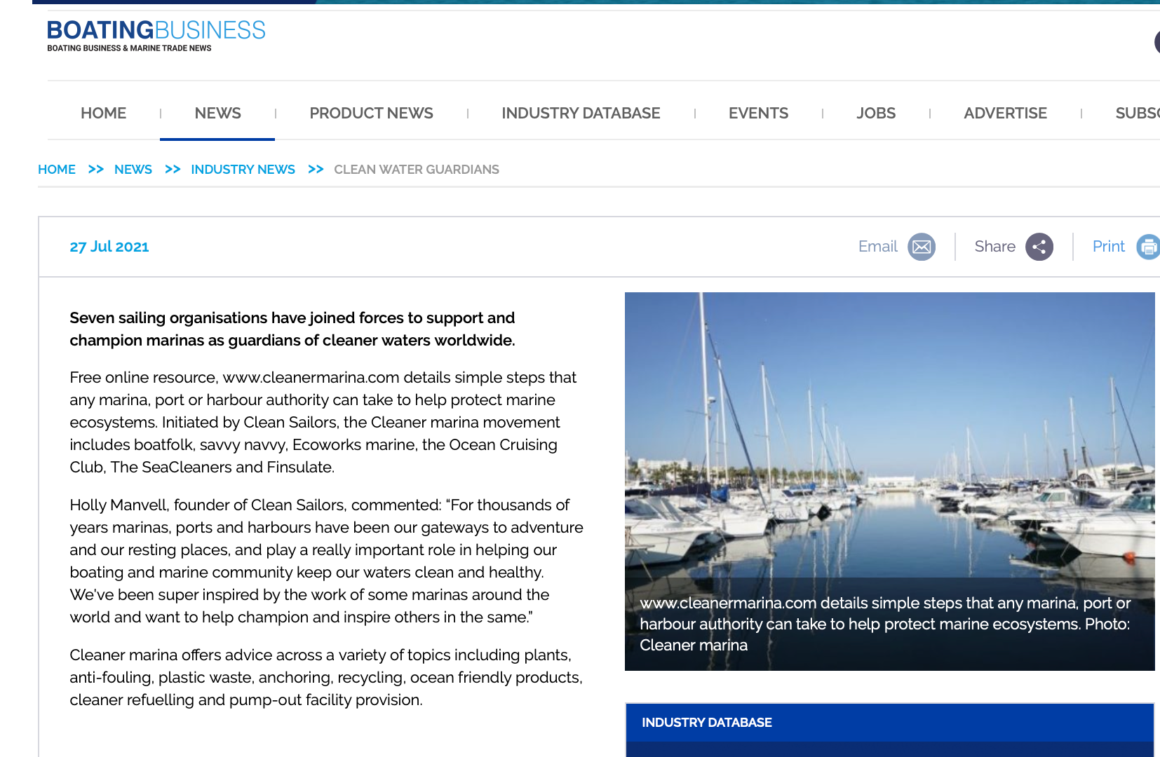 Cleaner marina in Boating business