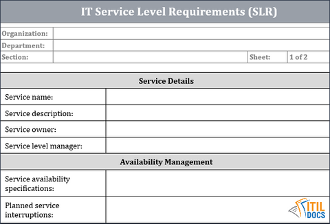 IT Service Level requirements