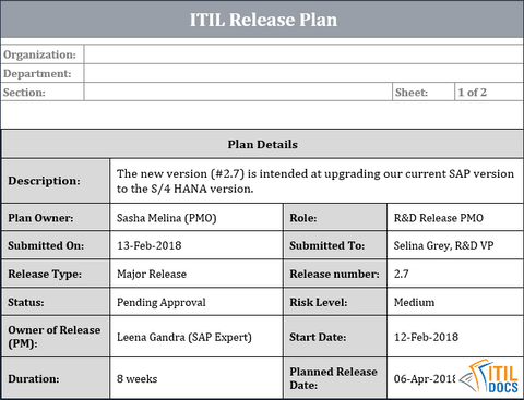 Release Plan Template, Release Planning