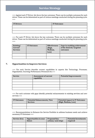 ITIL Service strategy template