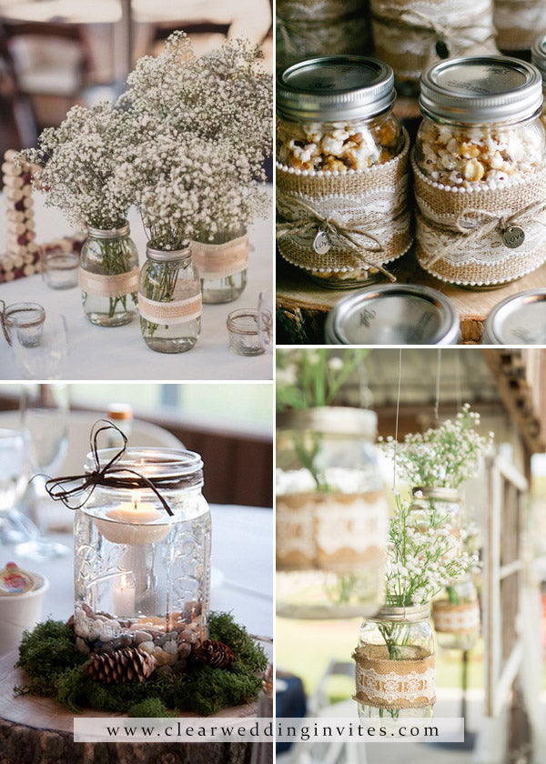 Rustic baby's breath and mason jar decorative elements for Your Wedding