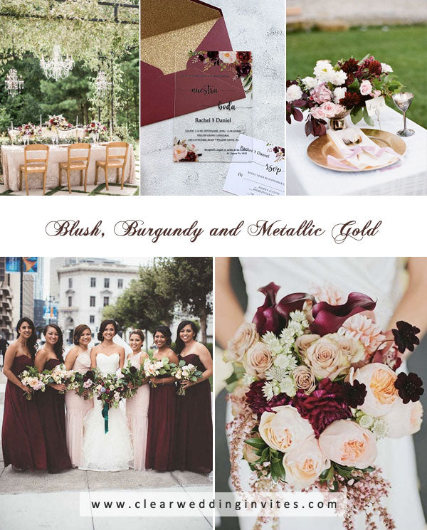 Blush, Burgundy and Metallic Gold amazing Spring and Summer Wedding Colors