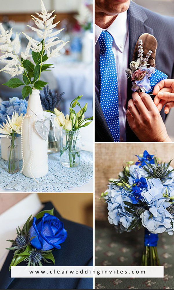 Mixed Shades of Blue 2022 wedding color trend
