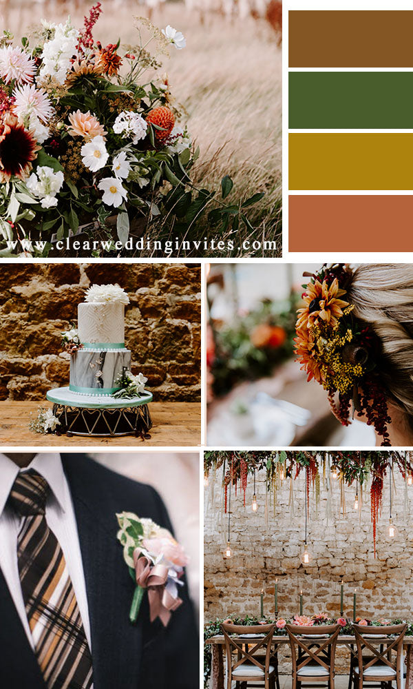 Terracotta and Greenery fall wedding color schemes