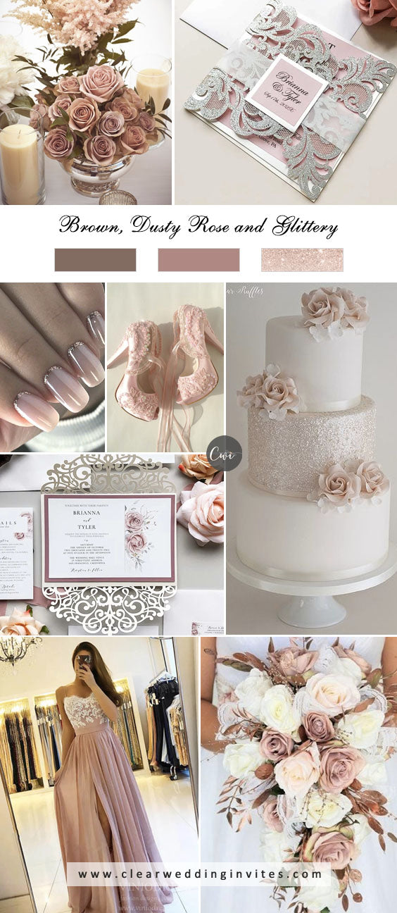 Brown, Dusty Rose and Glittery breathtaking NEUTRAL WEDDING COLOR PALETTE IDEAS in 2022