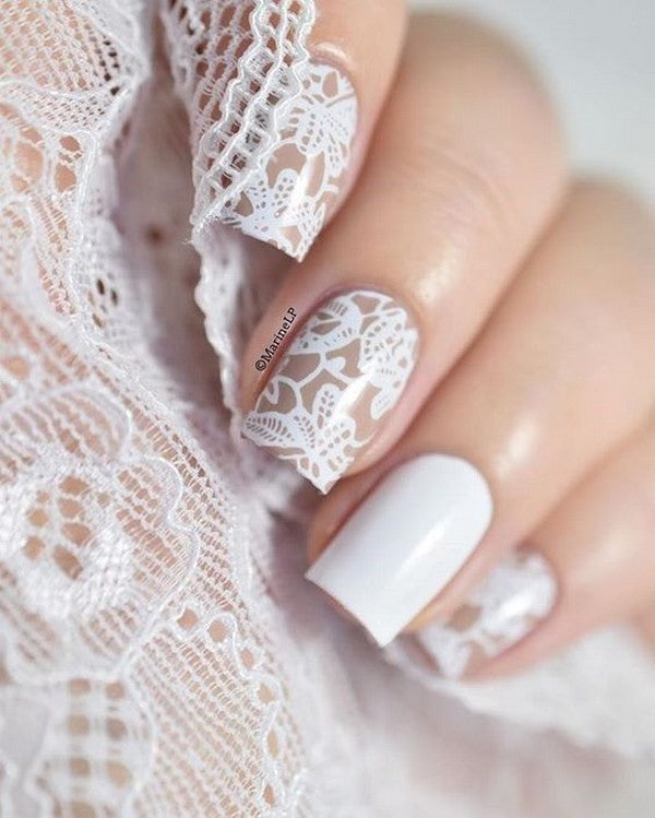 Classic French Manicure with Lace Design