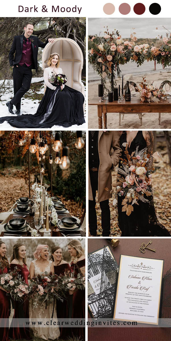 Burgundy, Dusty Rose and Black Dark and Moody Wedding Colors for Fall and Winter