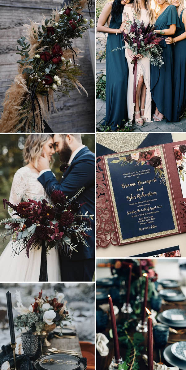 Navy and Burgundy fall winter wedding color palette