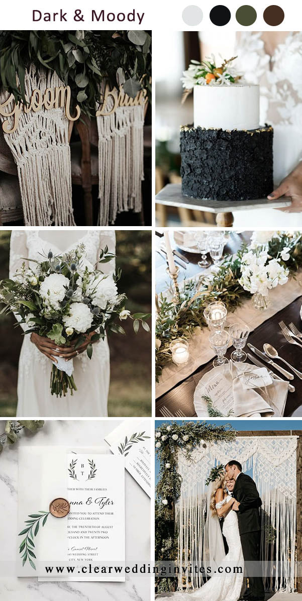 Black, Green and White Dark and Moody Wedding Colors for Fall and Winter