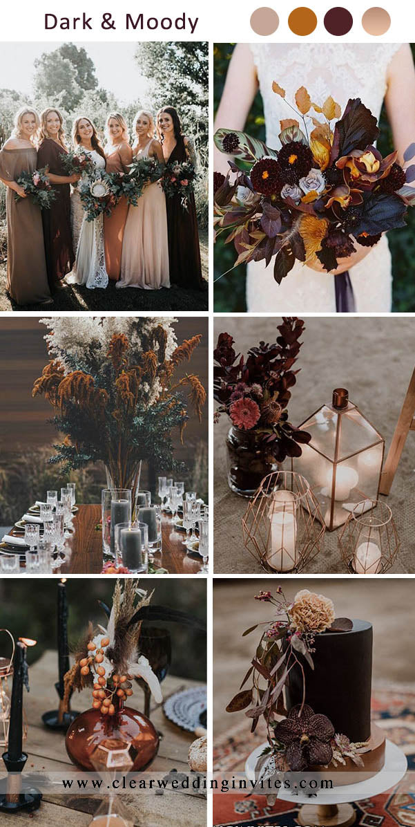 Taupe, Burnt Orange, Masala and Rose Gold Dark and Moody Wedding Colors for Fall and Winter