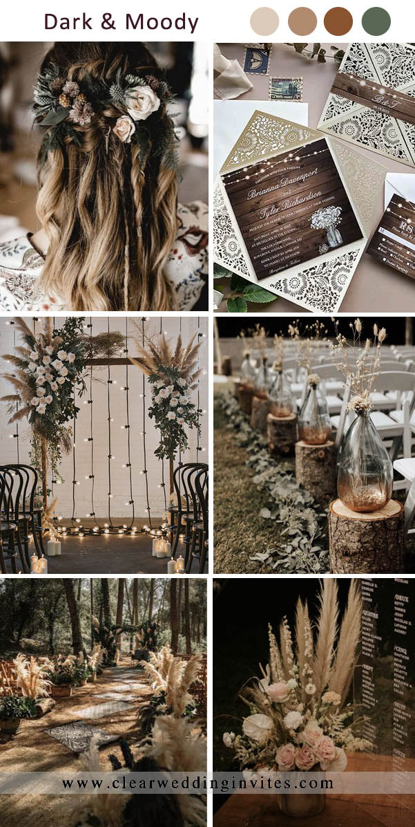 Dark Earthy Tone with Forest Green Dark and Moody Wedding Colors for Fall and Winter