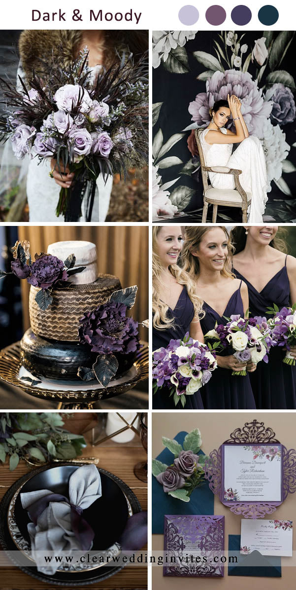 Shade of Purple and Plum Dark and Moody Wedding Colors for Fall and Winter