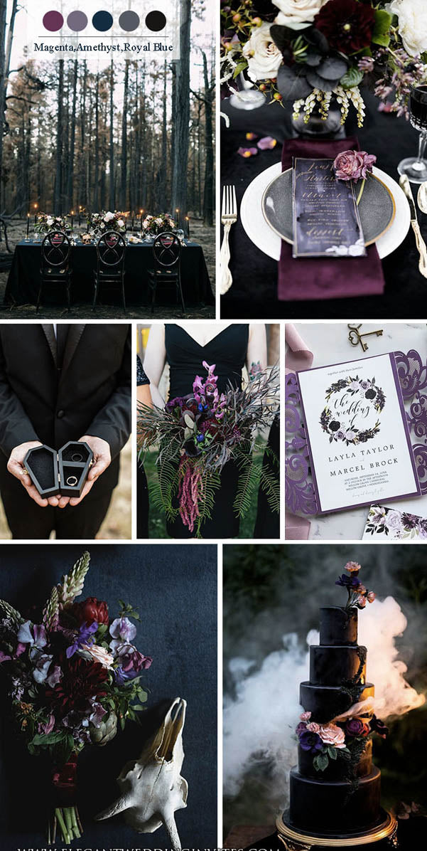 Magenta, Amethyst and Royal Blue Dark and Moody Wedding Colors for Fall and Winter