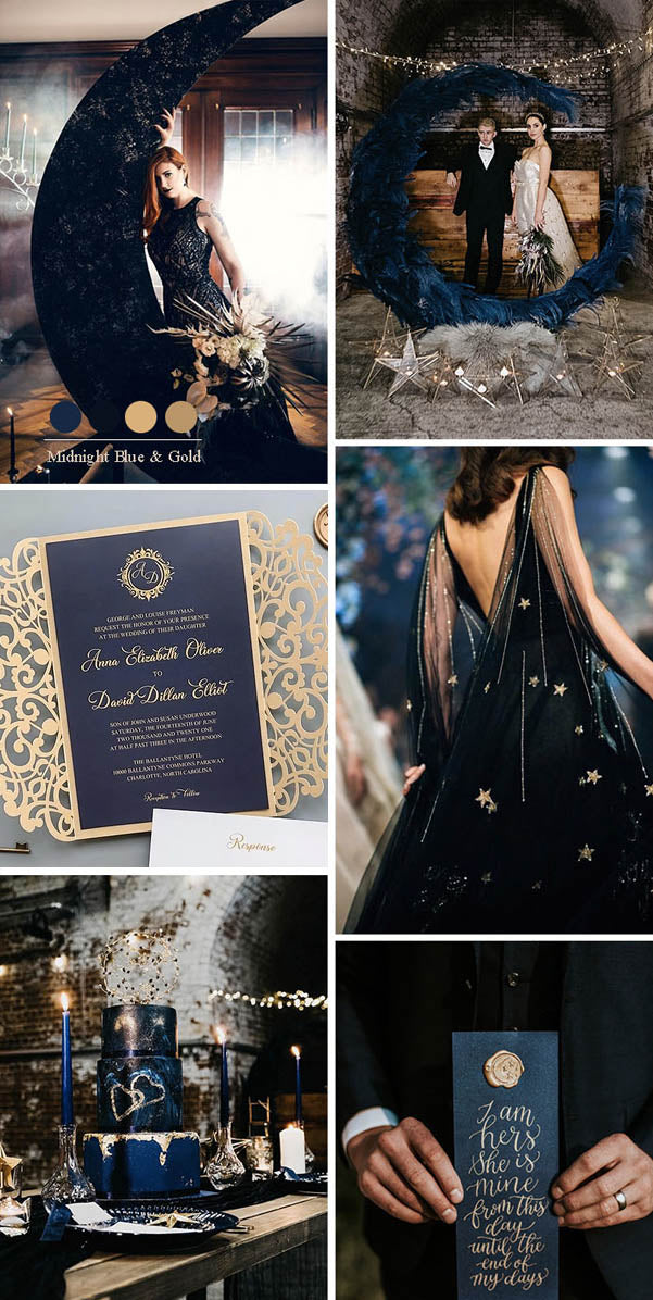 Midnight Blue and Gold Celestial Theme Dark and Moody Wedding Colors for Fall and Winter