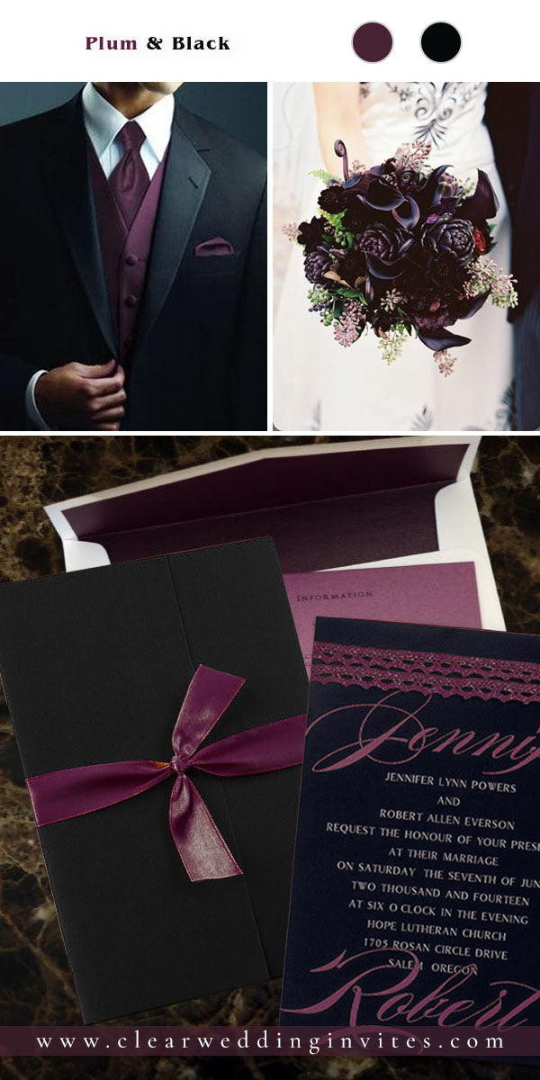 Choosing dark purple as your wedding color will create a mood of individuality, mystery and fantasy.