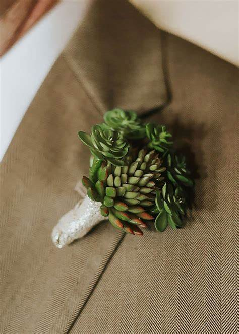 Succulent Groom's Boutonniere in a Organic Wedding