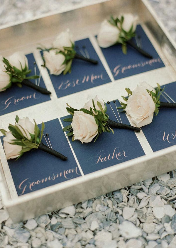 12.Timeless Groom's French Style Boutonnieres