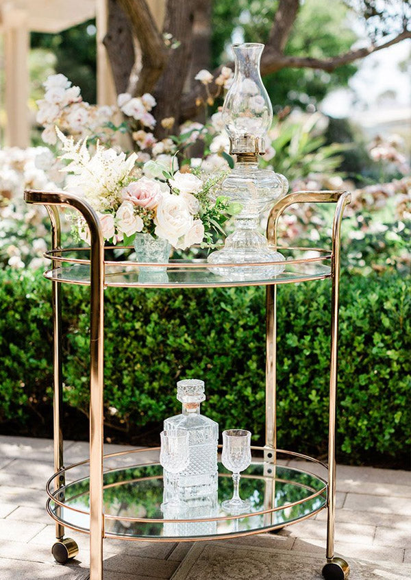 old-fashioned bar cart for french vintage wedding reception
