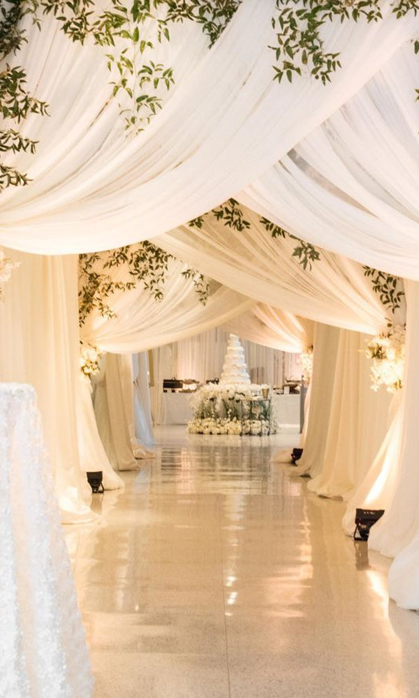 Draped fabric ceiling with romantic lights Amazing Tented Wedding Decoration Ideas To Wow Your Guests
