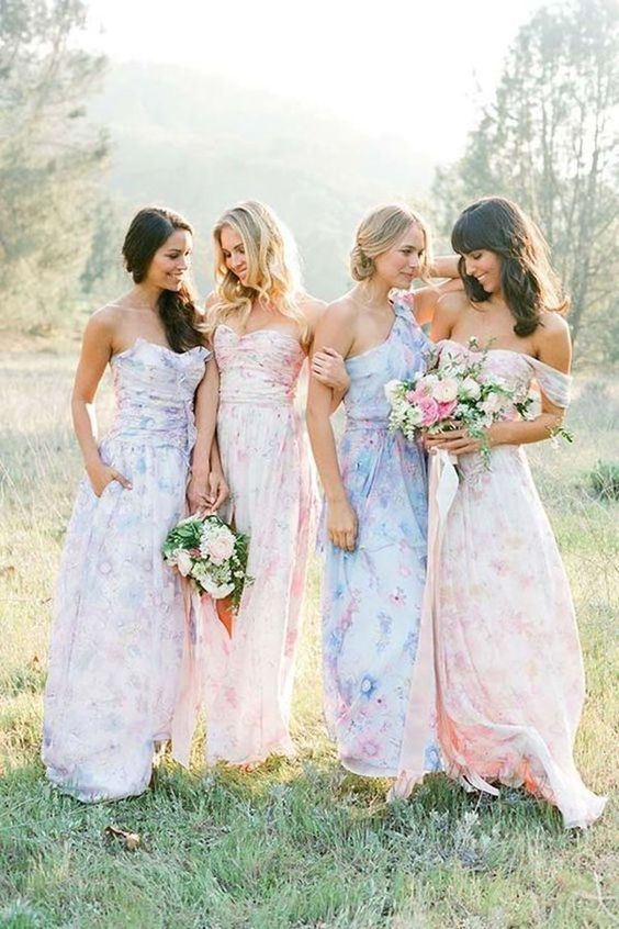 Mix-matched printed bridesmaid dress Fantastic Wedding Dresses for Bridesmaid in 2021-2022