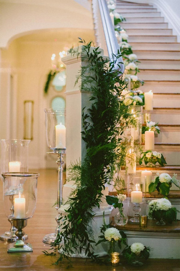 Greenery Wedding Staircases decorated with candles
