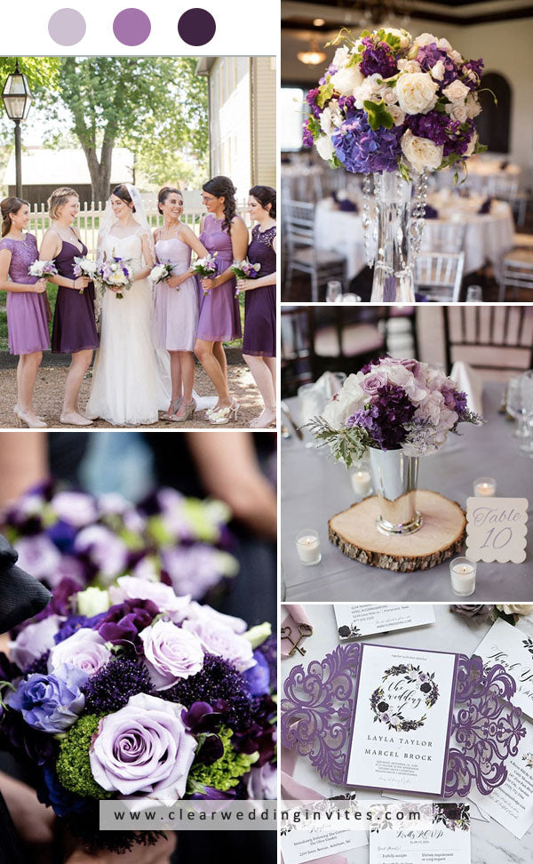 Shades of Purples plum lavender lilac Amazing FALL WEDDING COLORS may get you rounded up