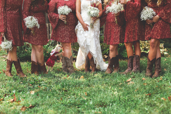 Classic western country style bride and bridesmaid cowgirl boots