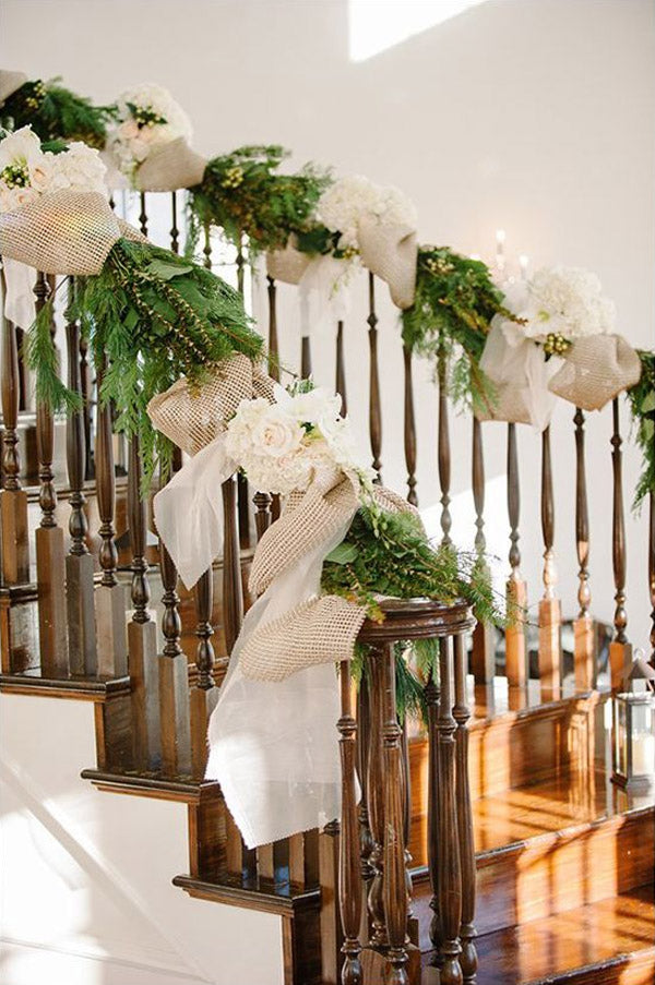 Rustic country burlap and floral Wedding Staircases Decor Ideas