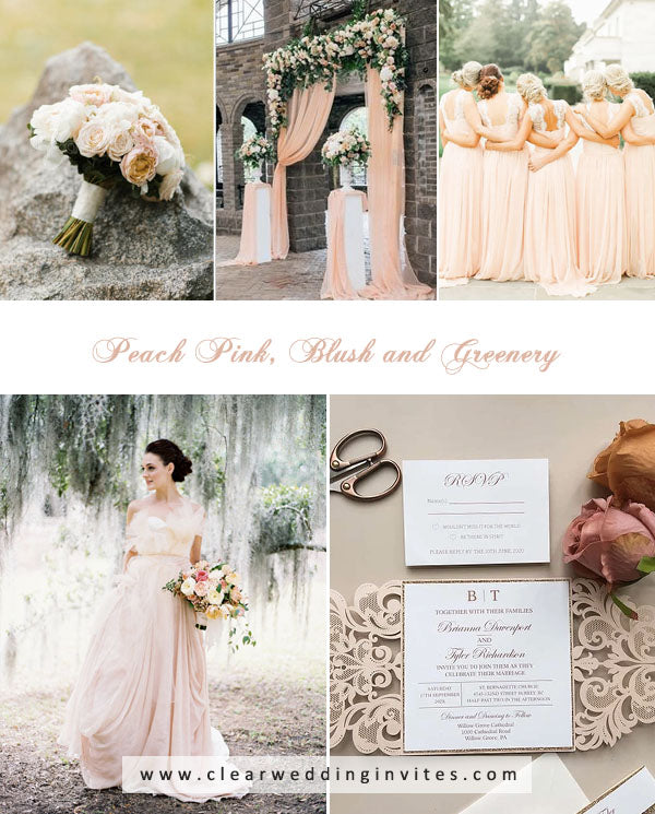 Peach Pink, Blush and Greenery amazing Spring and Summer Wedding Colors