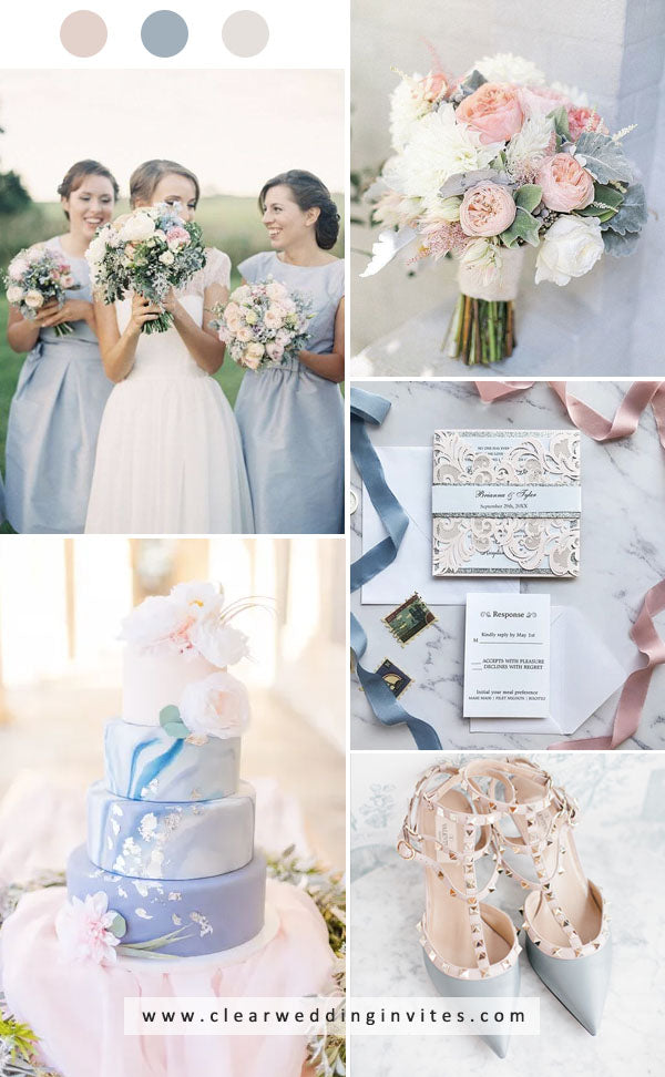 Dusty blue and blush wedding colors for fall wedding