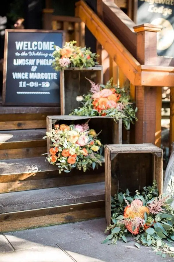 Barn Wooden Wedding Staircases With Chalkboard Welcome Sign