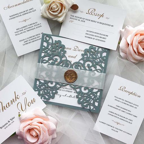Elegant Navy Blue and Dusty Blue Wedding Color Ideas  with Matched Wedding Invitations