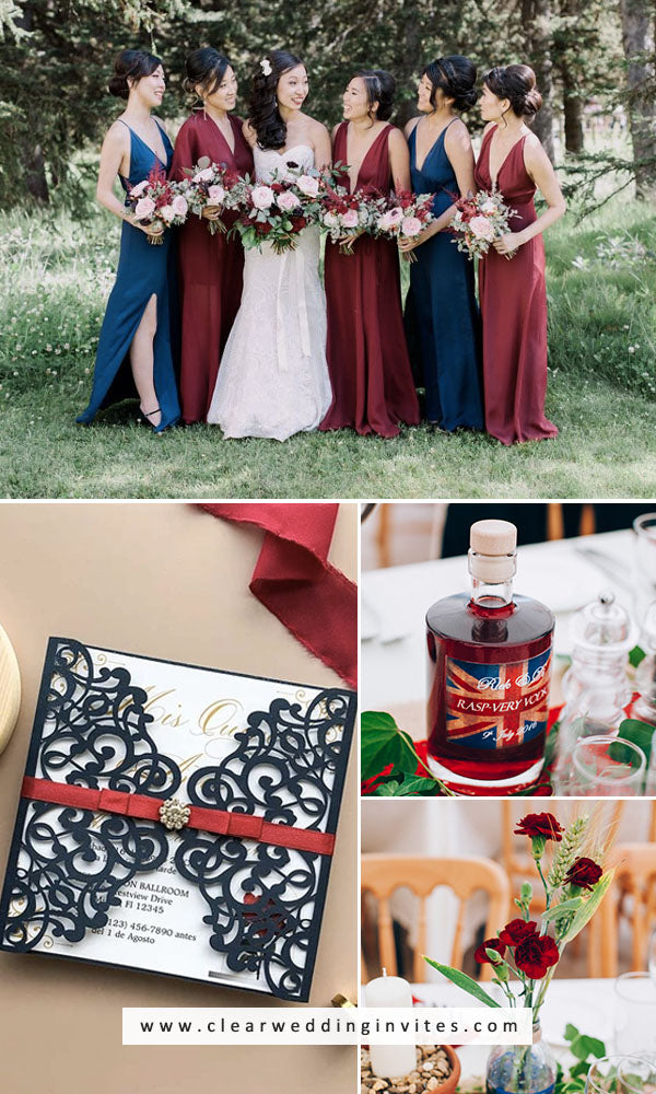 Navy and Wine Red casual or super formal wedding ideas and invitations