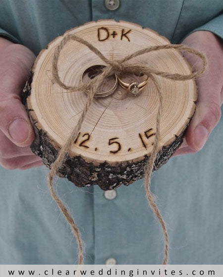 Rustic Wood Slice 4 Alternative Ring Bearer Pillow Ideas for Your Reference