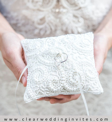 Beaded White Pillow Ring Bearer Pillow Ideas for Your Reference