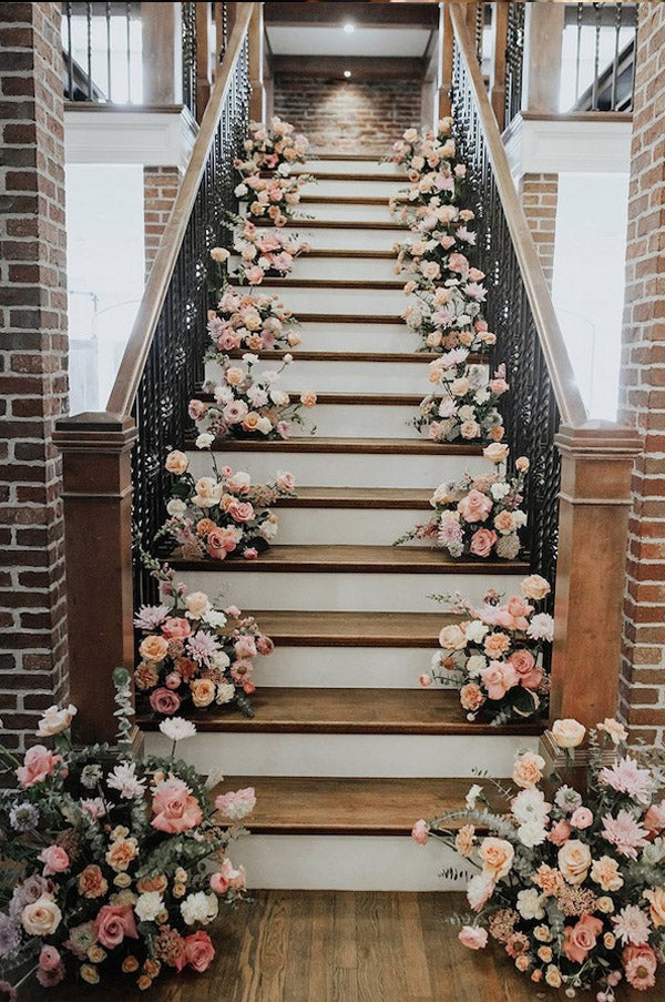 Garden Romantic Pink Floral Wedding Staircases