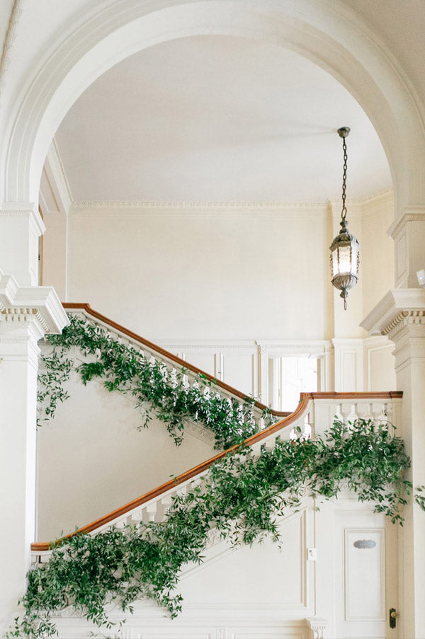Modern simple green garland wedding Staircases