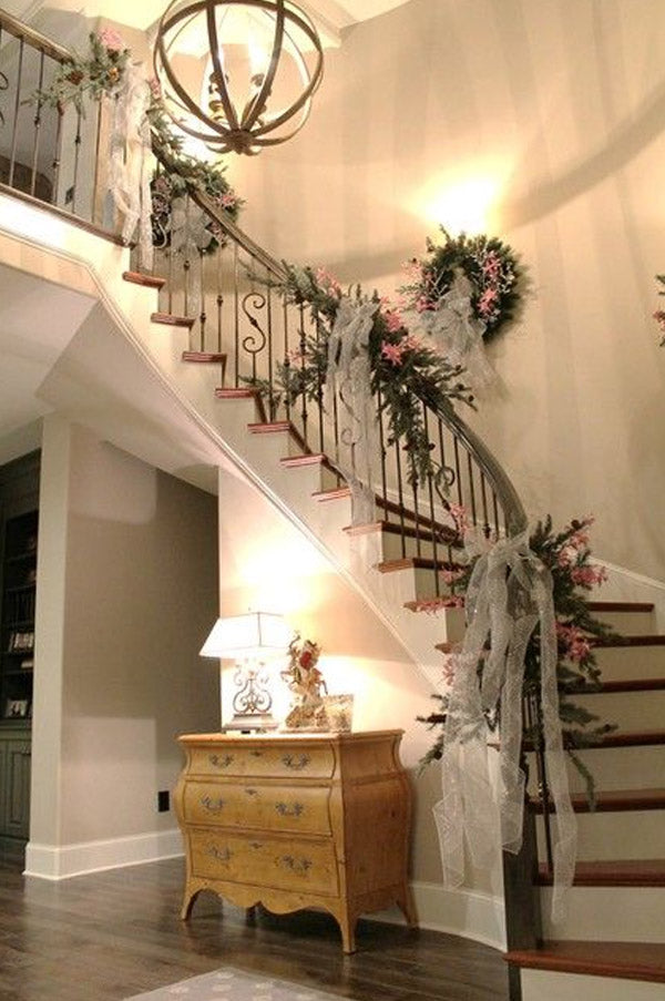 Vintage Style wedding Staircases decorated with lace ribbon