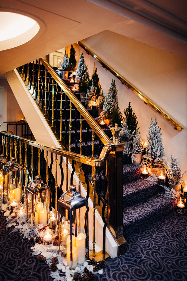Winter wedding staircases filled with christmas trees
