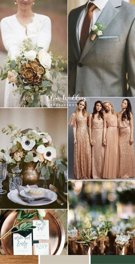 Rose Gold, Metallic Copper and Greenery Wedding Color Ideas You Deserve to Try